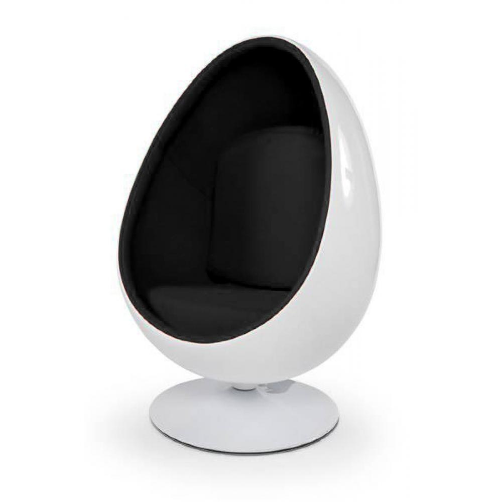 fauteuil oeuf boule design egg ball chair blanc noir. Black Bedroom Furniture Sets. Home Design Ideas