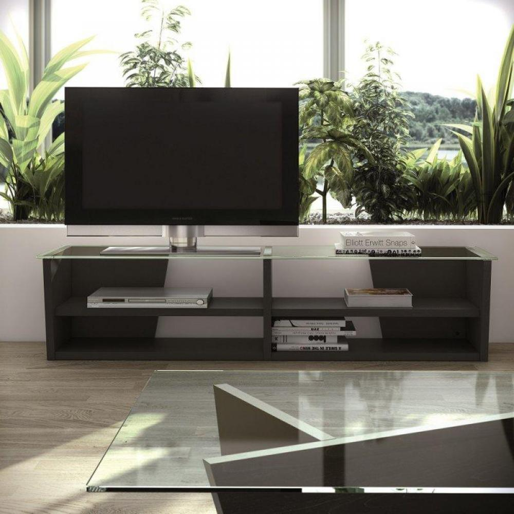 meubles tv meubles et rangements temahome oliva meuble tv weng avec plateau en verre inside75. Black Bedroom Furniture Sets. Home Design Ideas