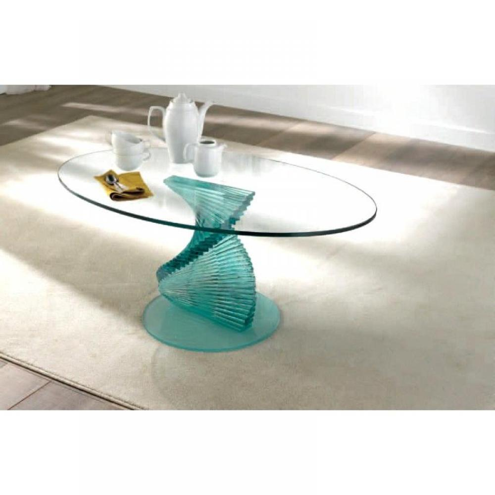 Tables basses tables et chaises opale table basse design en verre plateau - Table en verre ovale ...