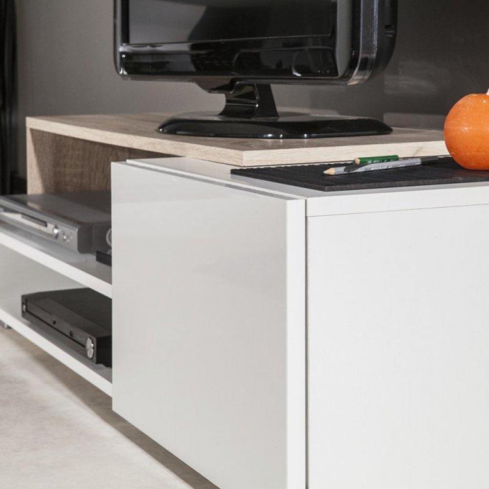 Meuble Tv Blanc Urbana : Buffets, Meubles Et Rangements, Pacific Meuble Tv Couleur Blanc Laqué