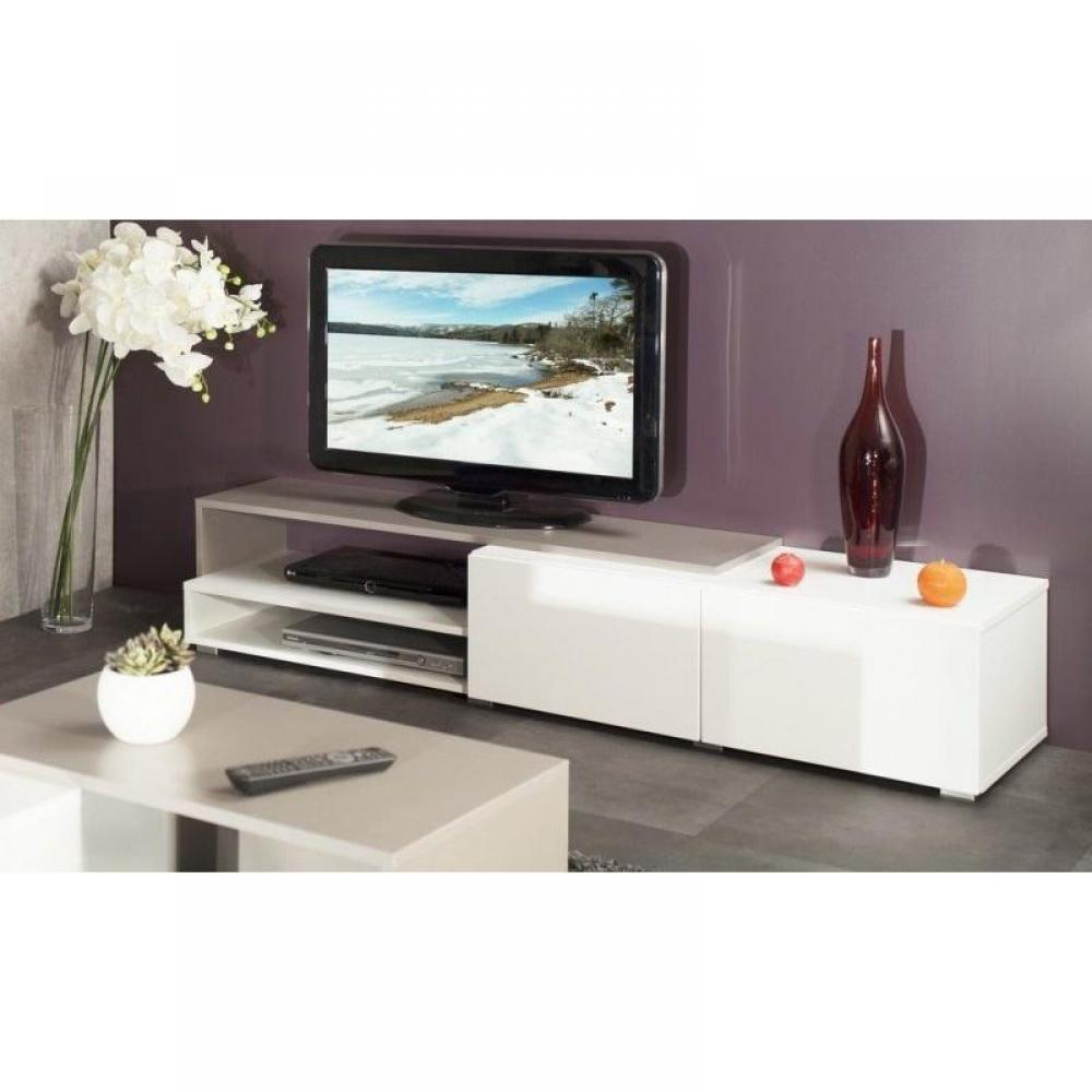 meubles tv meubles et rangements pacific meuble tv couleur blanc et taupe laqu brillant. Black Bedroom Furniture Sets. Home Design Ideas