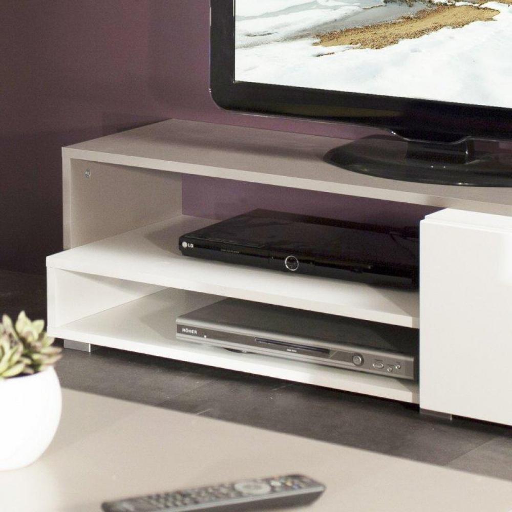 Meuble Tv Blanc Urbana : Pacific Meuble Tv Couleur Blanc Et Taupe Laqué Brillant Grand Modèle