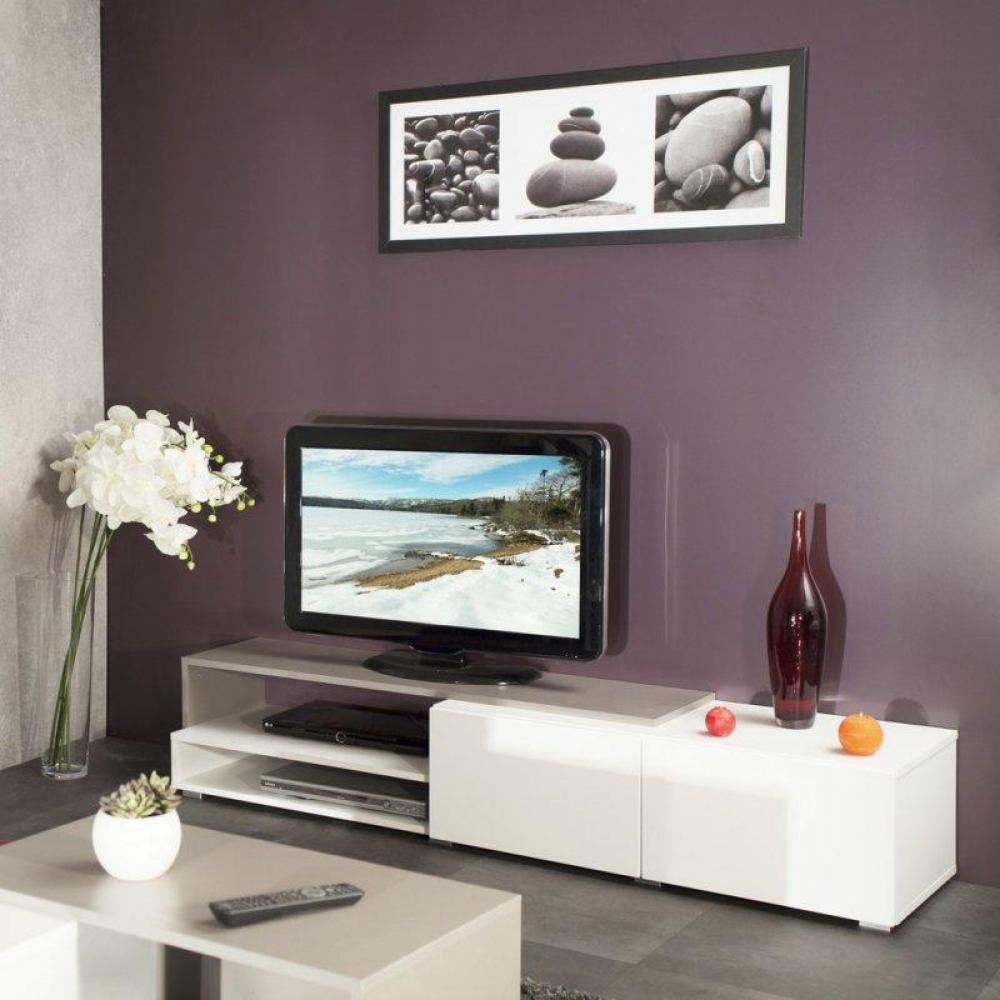 Grand meuble tv blanc laqu - Meuble tv couleur taupe ...