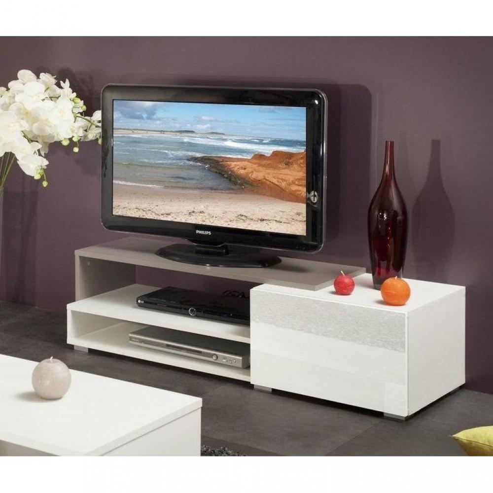 Meubles tv meubles et rangements pacific meuble tv couleur blanc et taupe l - Petit meuble tv blanc ...