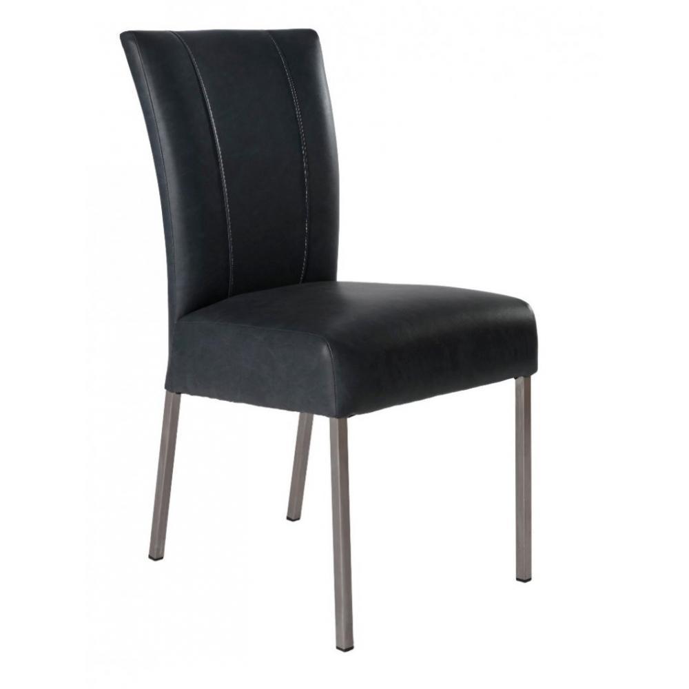 chaises tables et chaises chaise design pan similicuir noir pieds inox inside75. Black Bedroom Furniture Sets. Home Design Ideas