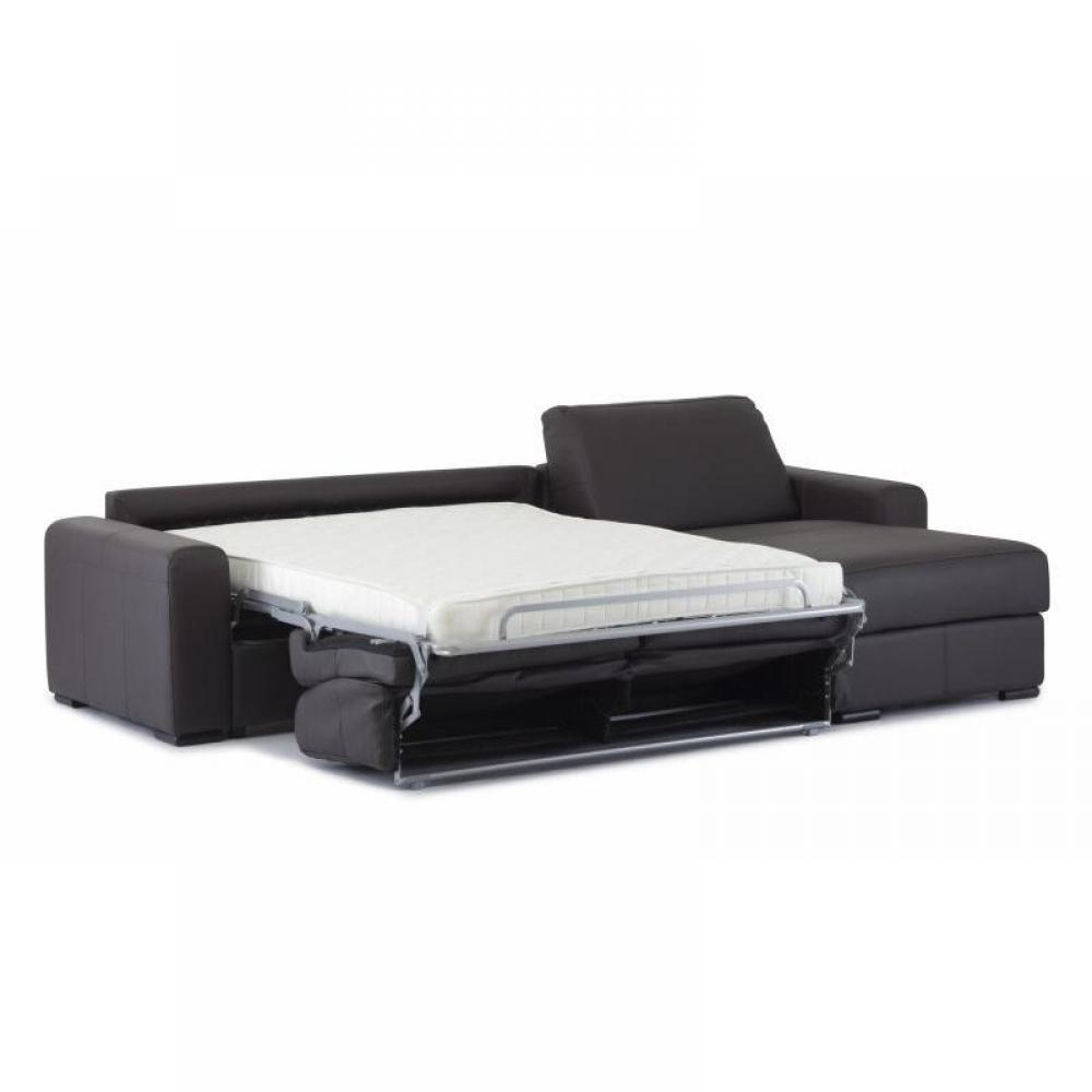 - Canape d angle convertible cuir noir ...