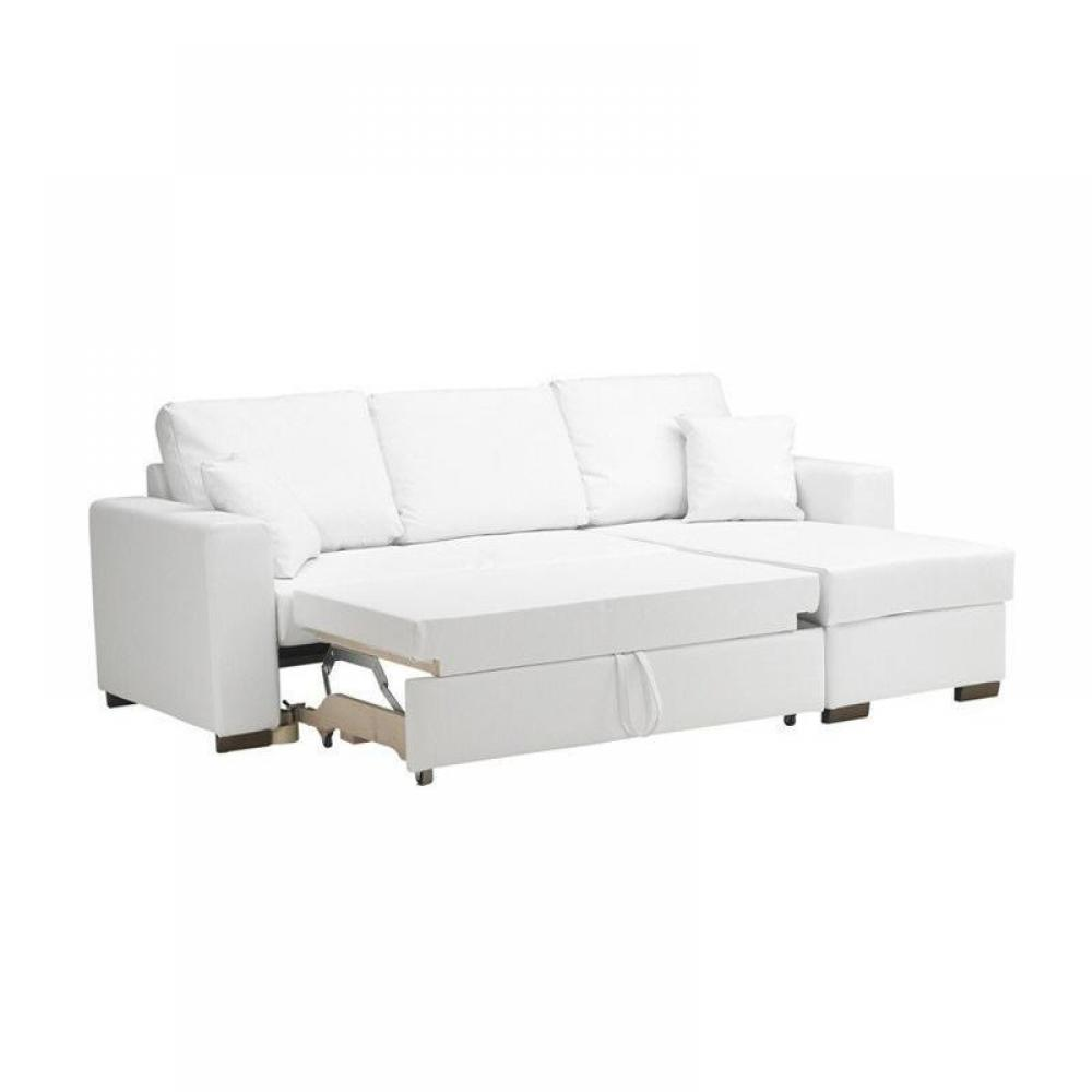 Canap d 39 angle convertible parigi tissu enduit pu blanc fa on cuir coff - Canape convertible definition ...