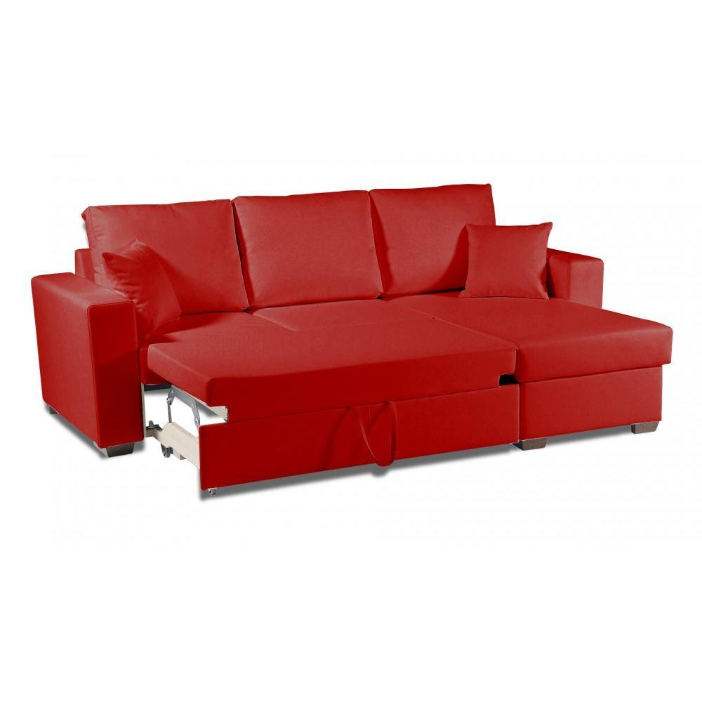 Canape simili cuir rouge maison design for Canape cuir rouge