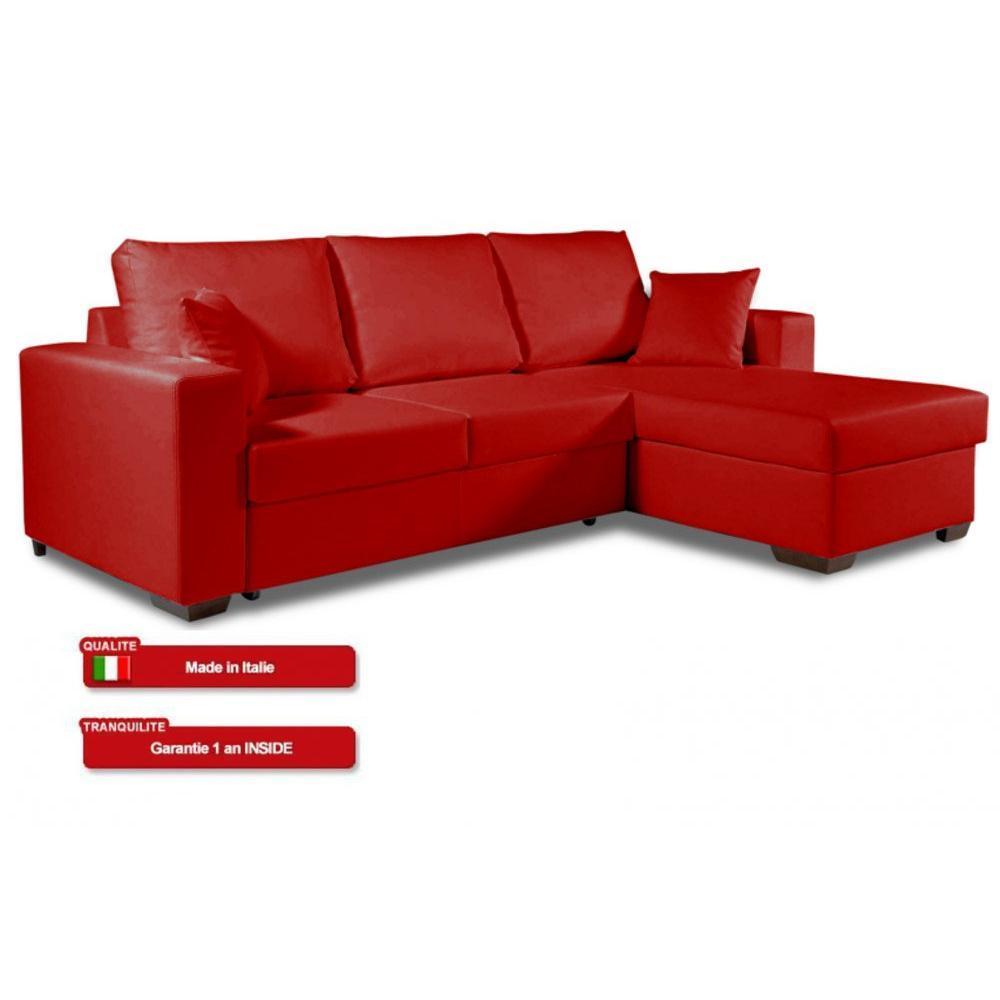 Chaises meubles et rangements canap d 39 angle convertible parigi en tiss - Canape angle cuir rouge ...