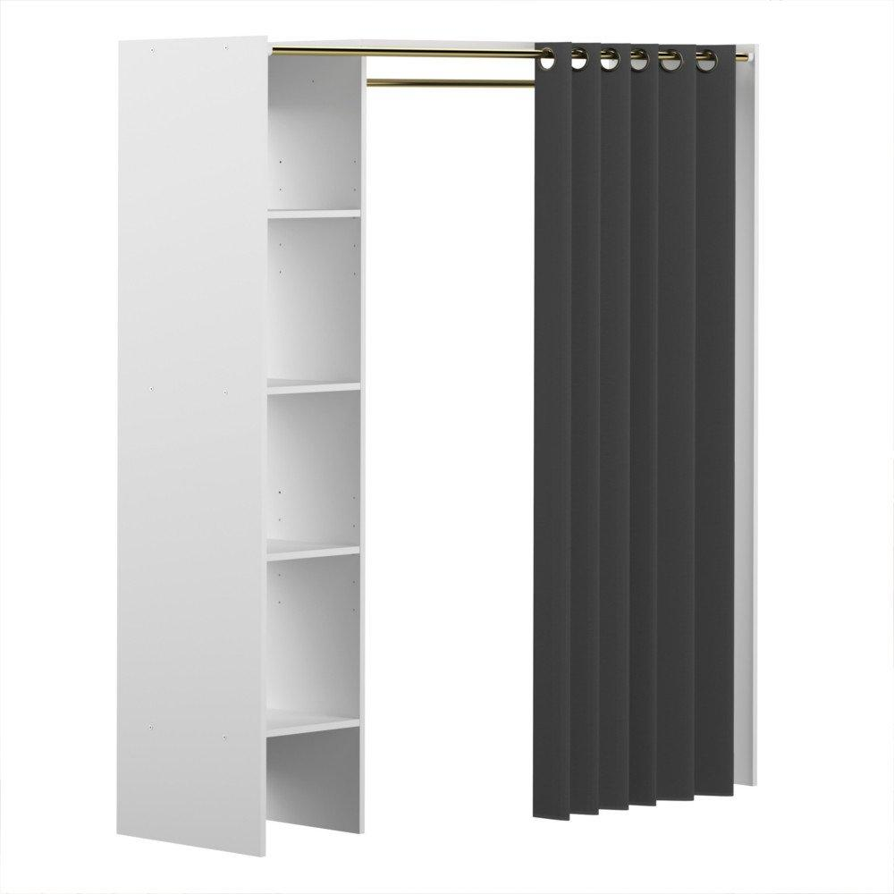 dressing extensible avec rideau ch ne blanc artemis r f rence pictures to pin on pinterest. Black Bedroom Furniture Sets. Home Design Ideas