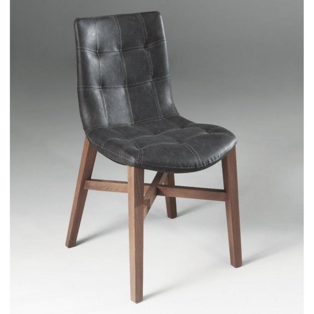 chaises tables et chaises chaise poseidon design noire en bois massif et similicuir inside75. Black Bedroom Furniture Sets. Home Design Ideas
