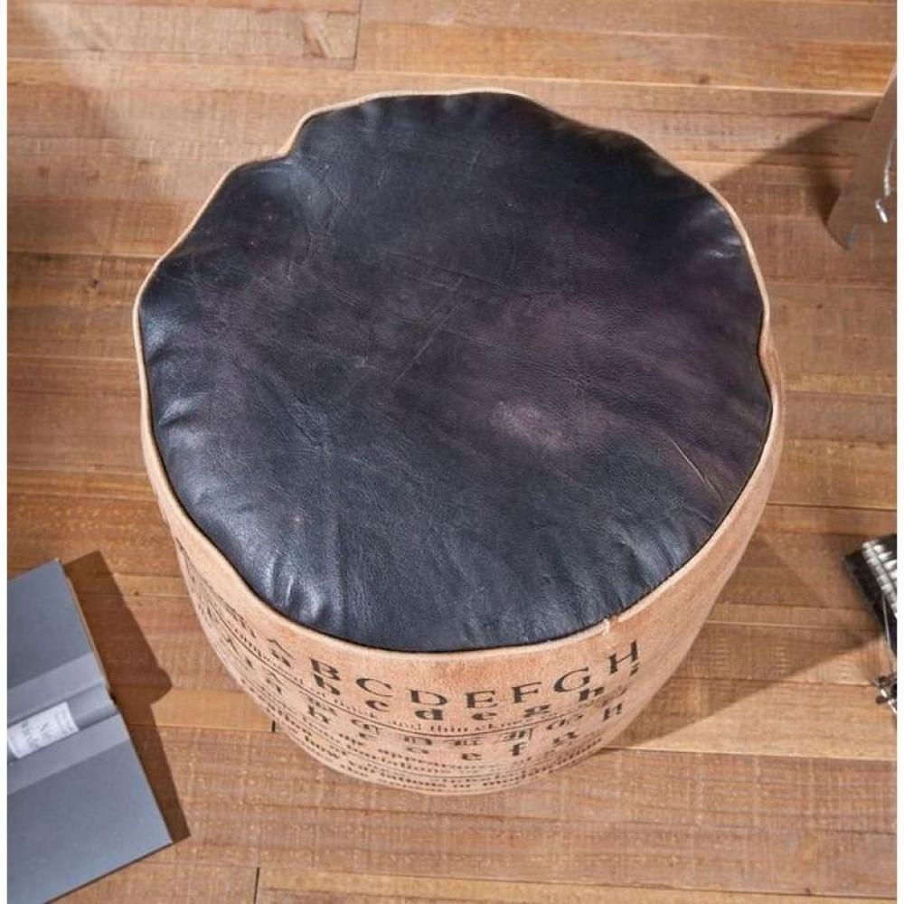 poufs et reposes pieds fauteuils et poufs pouf colona en coton marron et cuir noir inside75