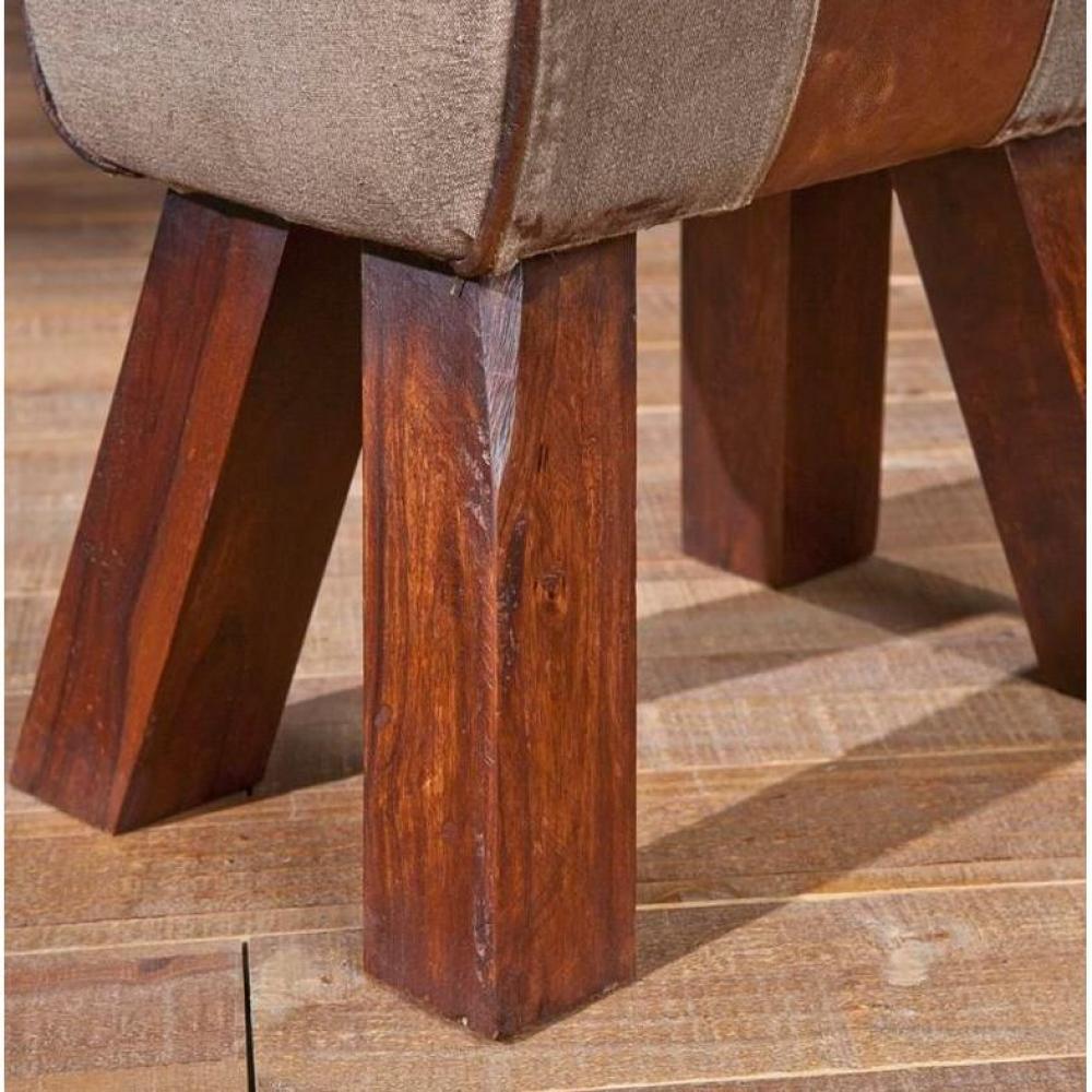 Fauteuils et poufs canap s et convertibles pouf stromboli en bois assise en coton et cuir for Pouf cuir vieilli