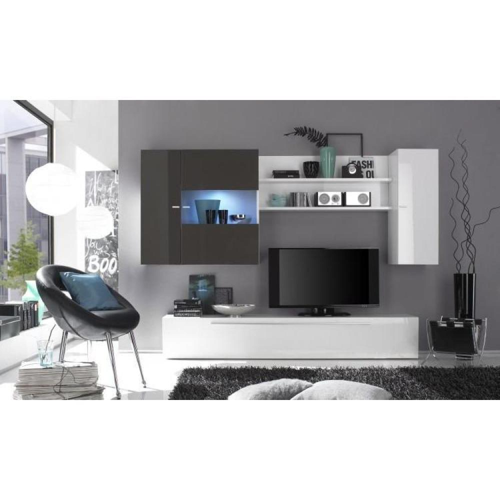 Ensemble mural tv meubles et rangements composition for Salon gris design