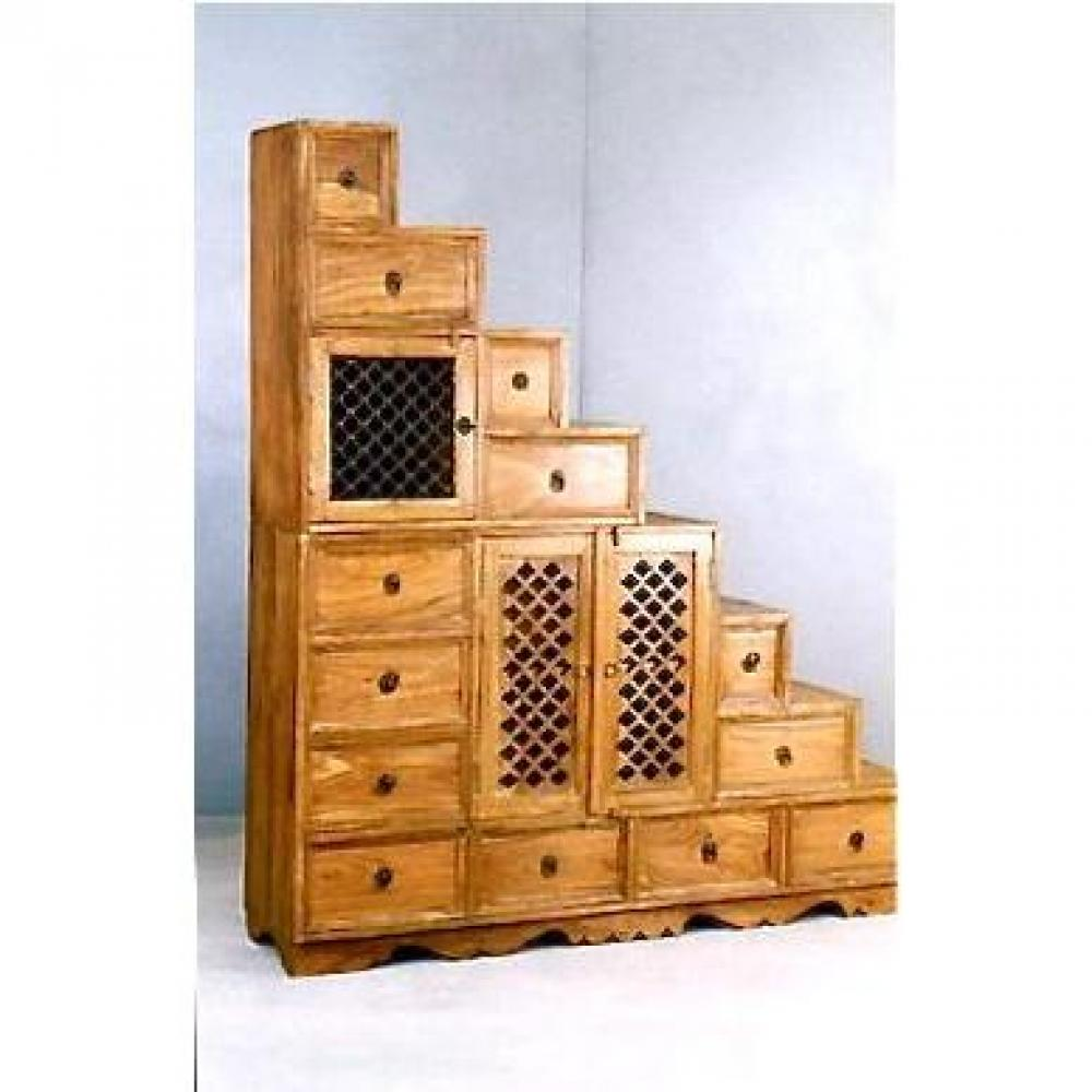 Escaliers radja escalier avec rangements tiroirs portes en sheesham insi - Escalier avec tiroir ...