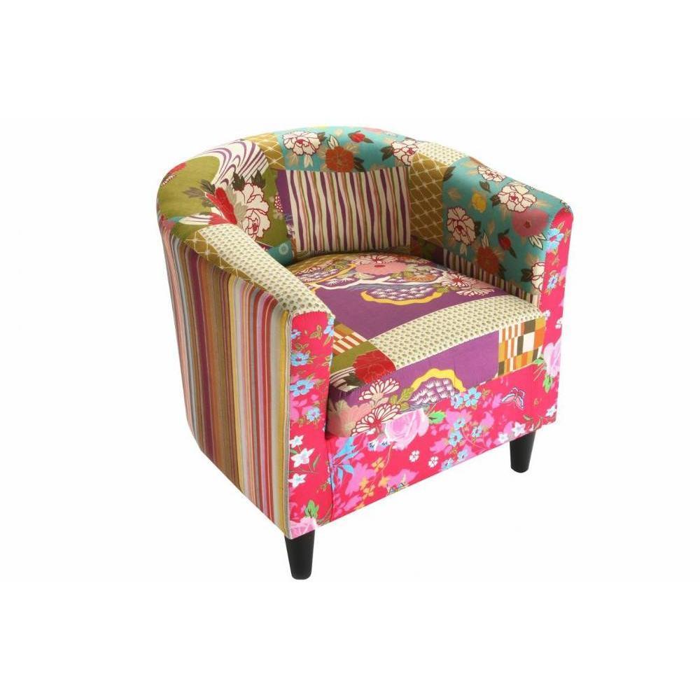 fauteuils et poufs fauteuils et poufs fauteuil rio patchwork avec accoudoirs inside75. Black Bedroom Furniture Sets. Home Design Ideas
