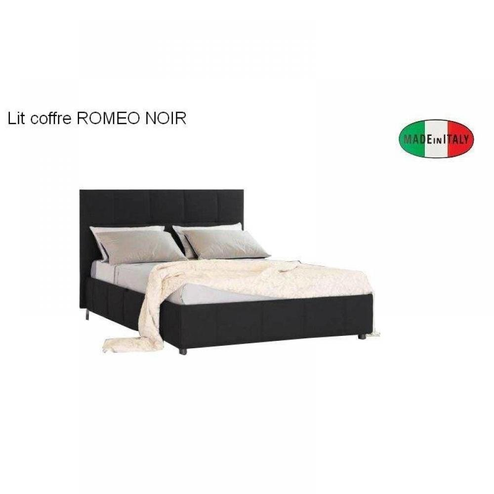 lits chambre literie lit coffre design romeo couchage 140 195cm t te de lit capitonn e. Black Bedroom Furniture Sets. Home Design Ideas