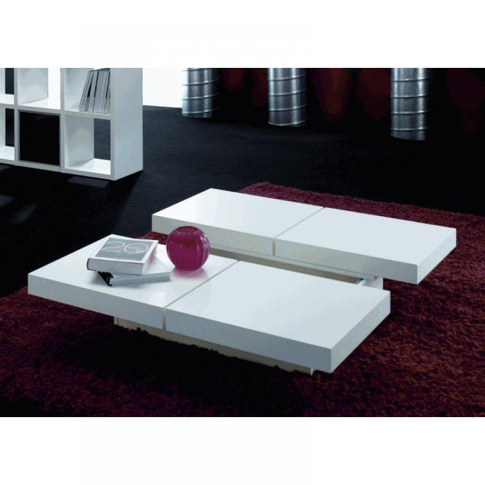 Table basse de salon blanc laque design - Table basse relevable blanc laque ...