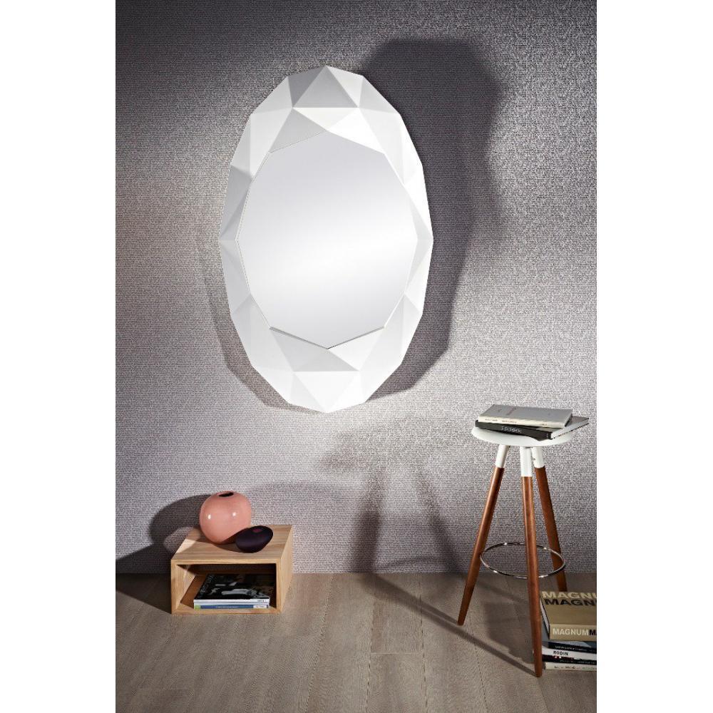 Saphir miroir mural design en verre couleur blanc eclat for Miroir eclat