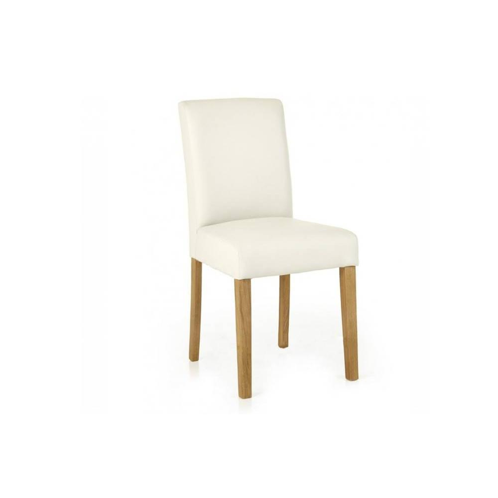 Chaises tables et chaises chaise blanche savana en for Chaise cuir blanc