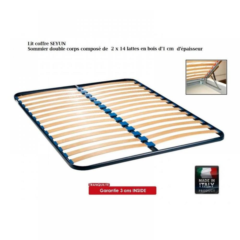 lits chambre literie lit coffre seyun haut de gamme avec t te de lit couchage 160 200 cm. Black Bedroom Furniture Sets. Home Design Ideas