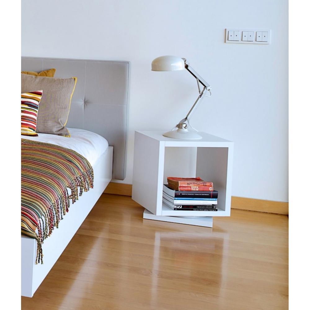 chevets meubles et rangements shell chevet design rotatif blanc mat 1 niveau. Black Bedroom Furniture Sets. Home Design Ideas