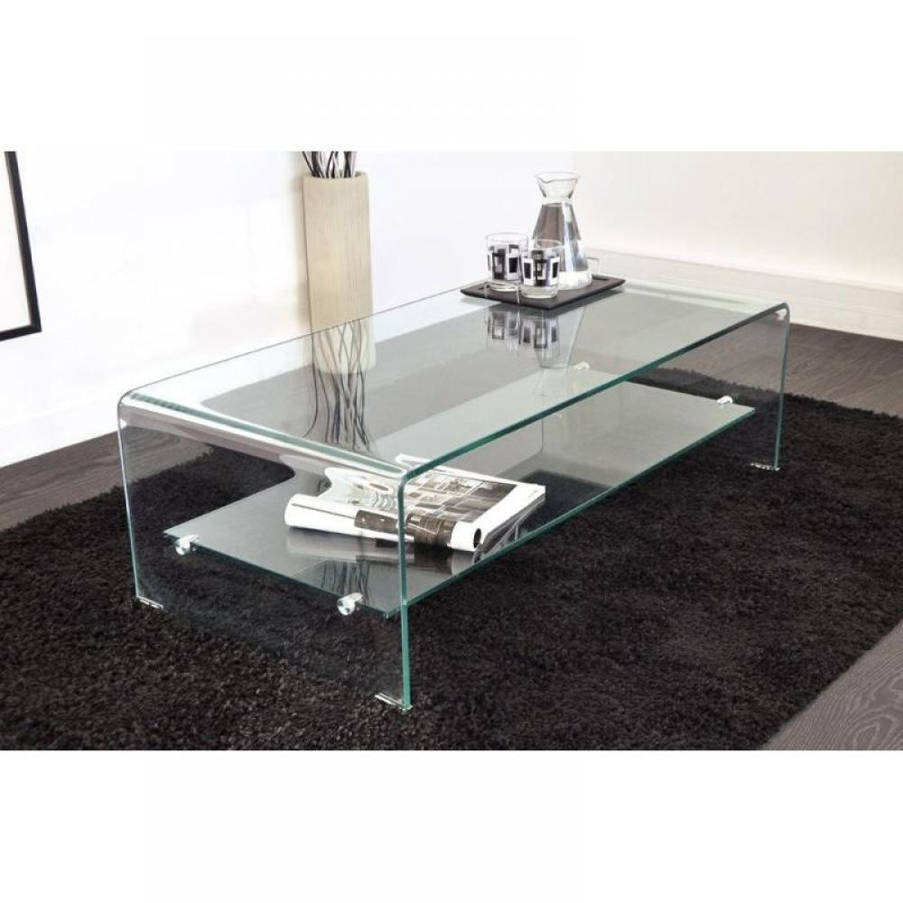 Table basse verre 2 plateaux - Table salon verre trempe ...