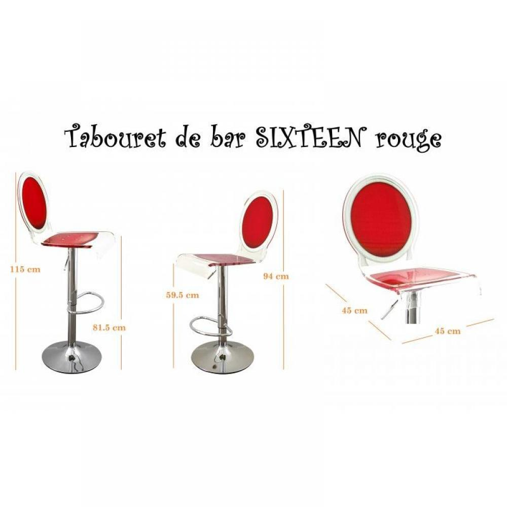 Tabourets de bar tables et chaises tabouret chaise de bar sixteen rouge ple - Tabourets de bar rouge ...