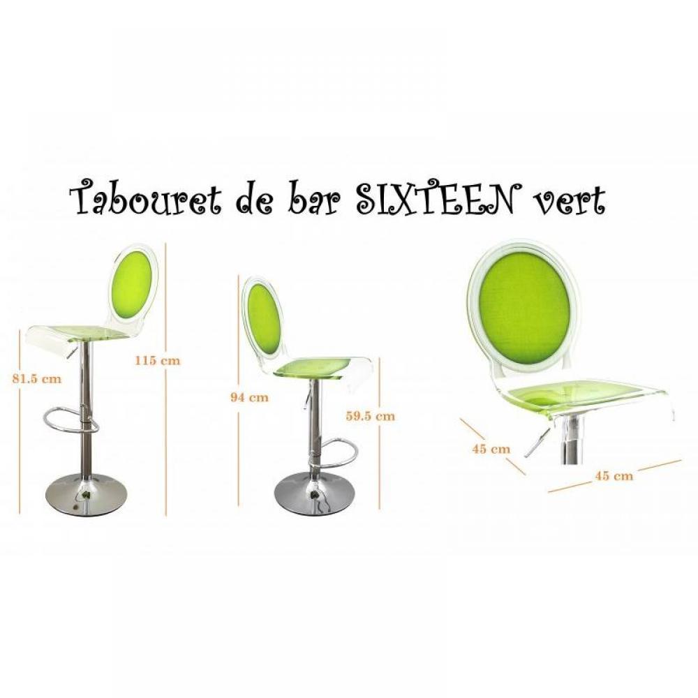 tabourets de bar meubles et rangements tabouret chaise de bar sixteen vert plexiglass acrila. Black Bedroom Furniture Sets. Home Design Ideas