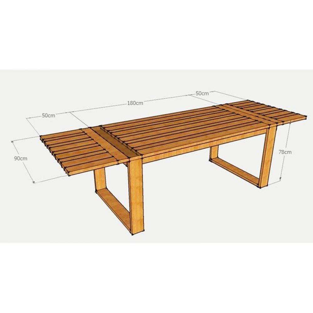 Tables repas table extensible solid teck massif 14 - Table en bois extensible ...