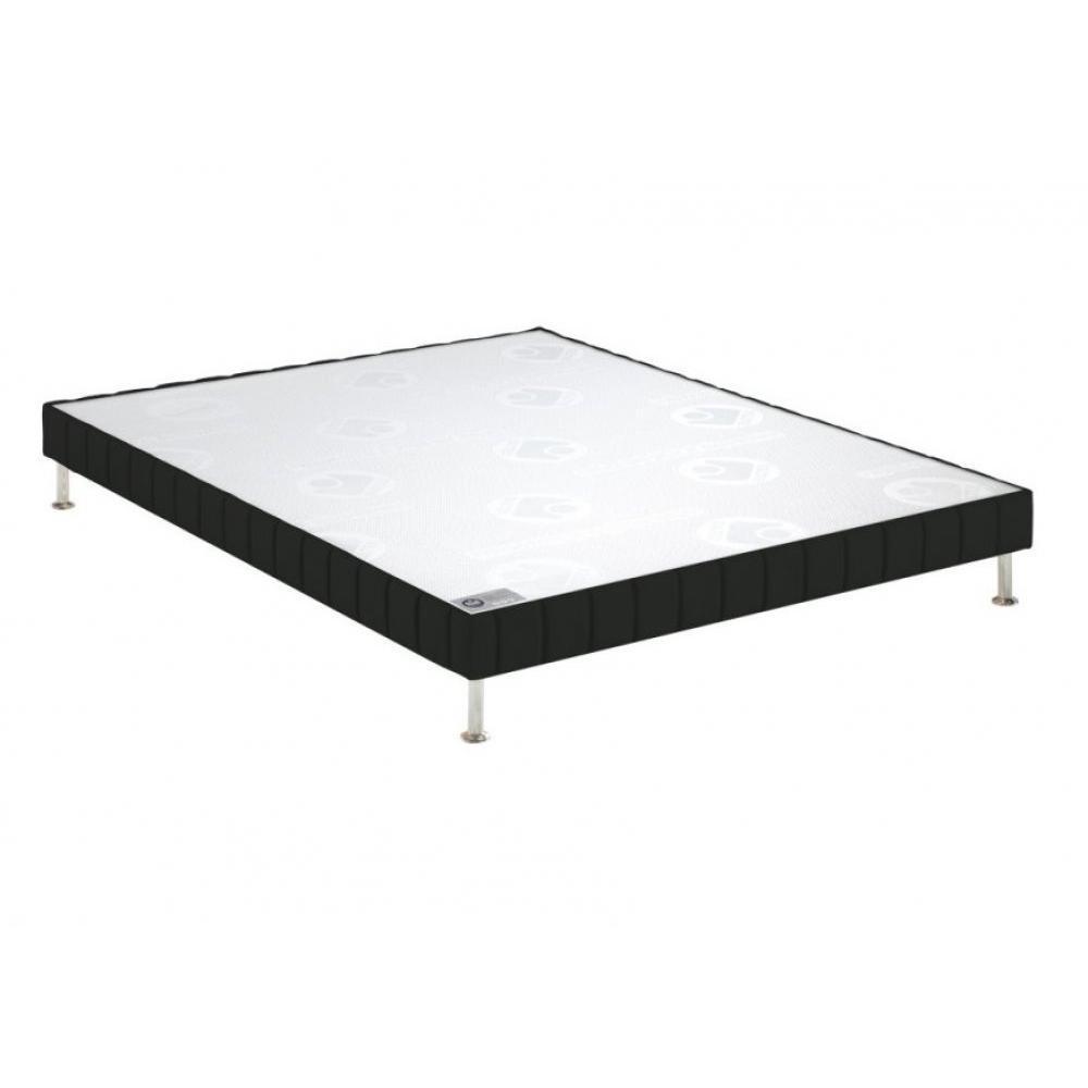 BULTEX Sommier tapissier confort ferme  enduit noir 140*190cm à lattes pieds chromés