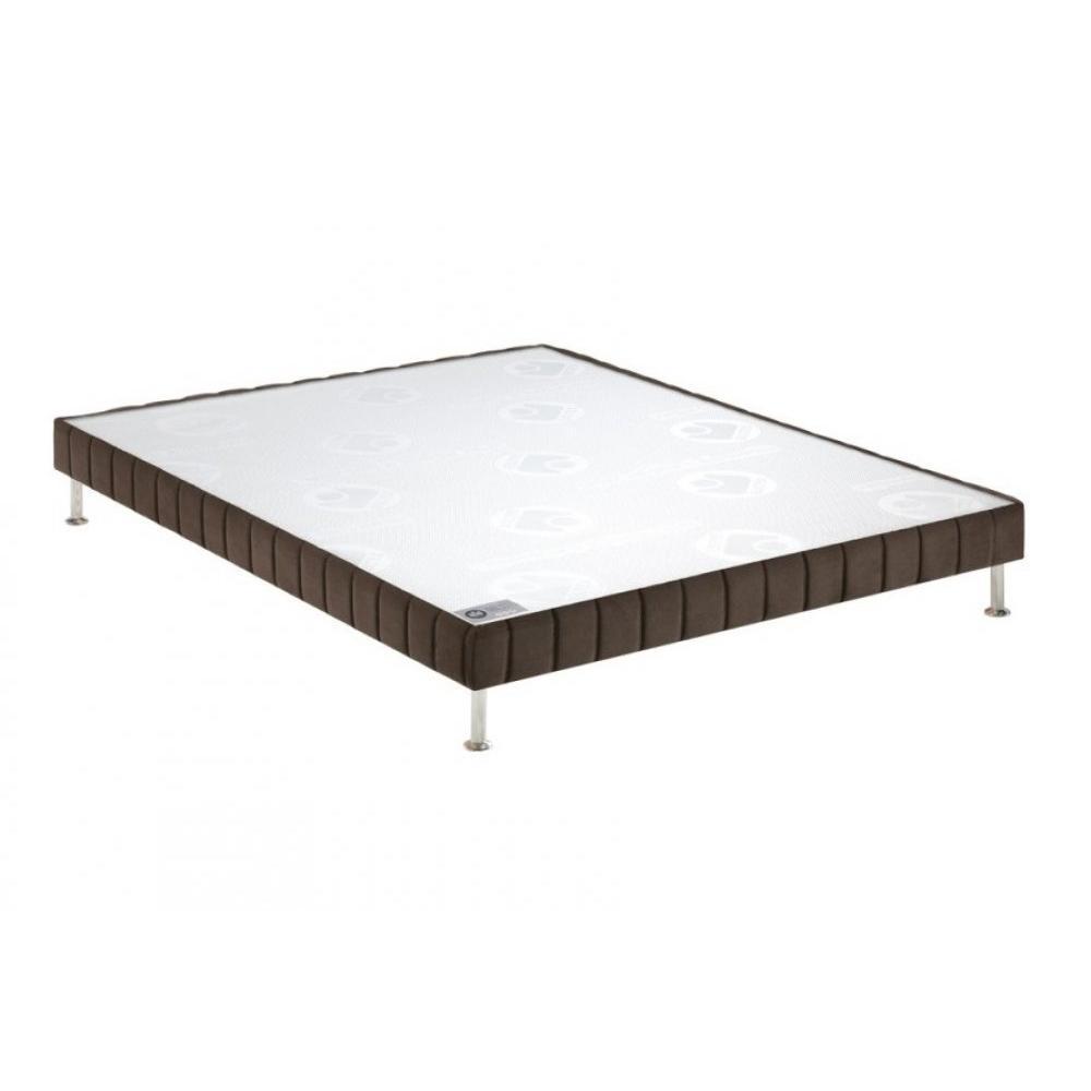 BULTEX Sommier tapissier confort ferme  vison 140*190cm à lattes pieds acier chromé