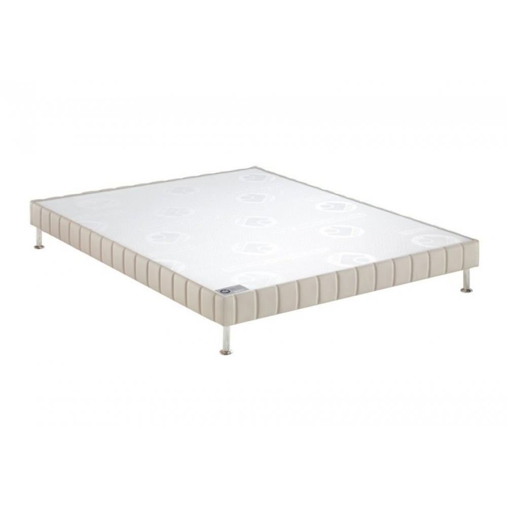 BULTEX Sommier tapissier confort ferme  pierre 70*190cm à lattes pieds acier chromé inclus