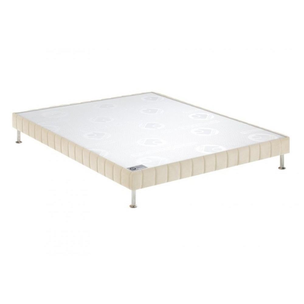 BULTEX Sommier tapissier confort ferme  grège 70*190cm à lattes pieds acier chromé inclus