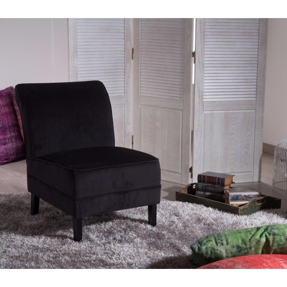 chauffeuses fauteuils et poufs petit fauteuil lounge tissu noir inside75. Black Bedroom Furniture Sets. Home Design Ideas