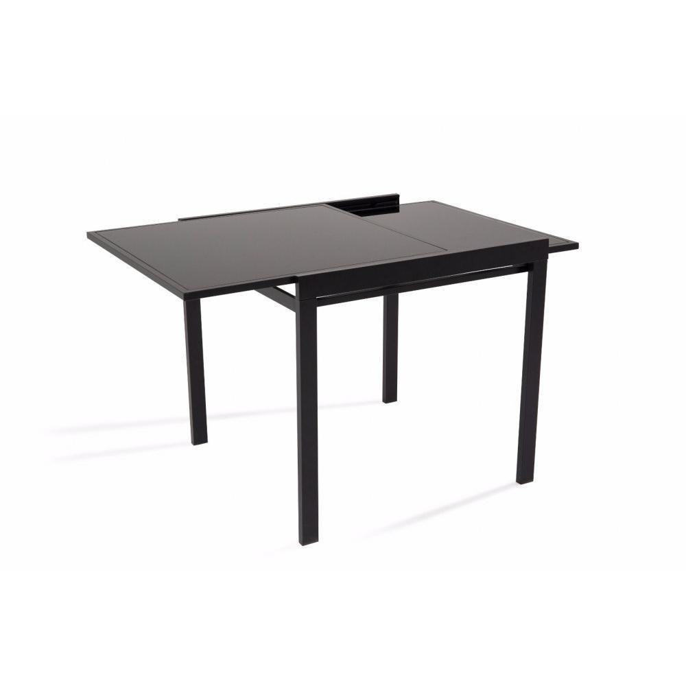 Tables tables et chaises table repas carr extensible verny noir - Table extensible noir ...