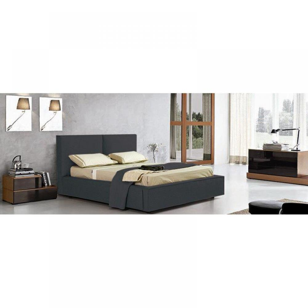 lits coffres chambre literie lit coffre design squadra gris couchage 2 personnes 120 190cm. Black Bedroom Furniture Sets. Home Design Ideas