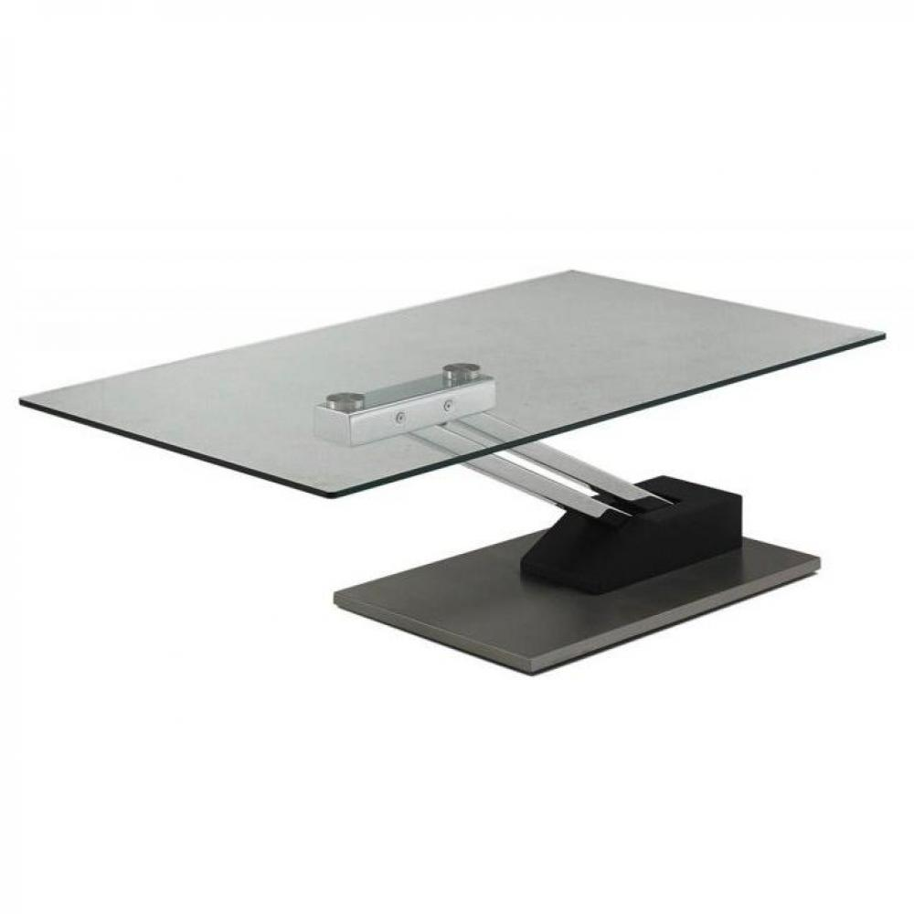 Table basse relevable step design en verre noir - Table relevable design ...