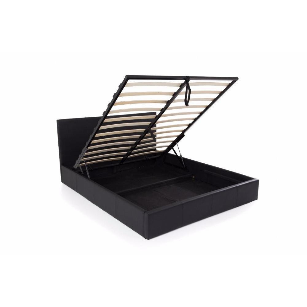 lits chambre literie lit coffre haut de gamme stona couchage 140 190 cm similicuir noir. Black Bedroom Furniture Sets. Home Design Ideas