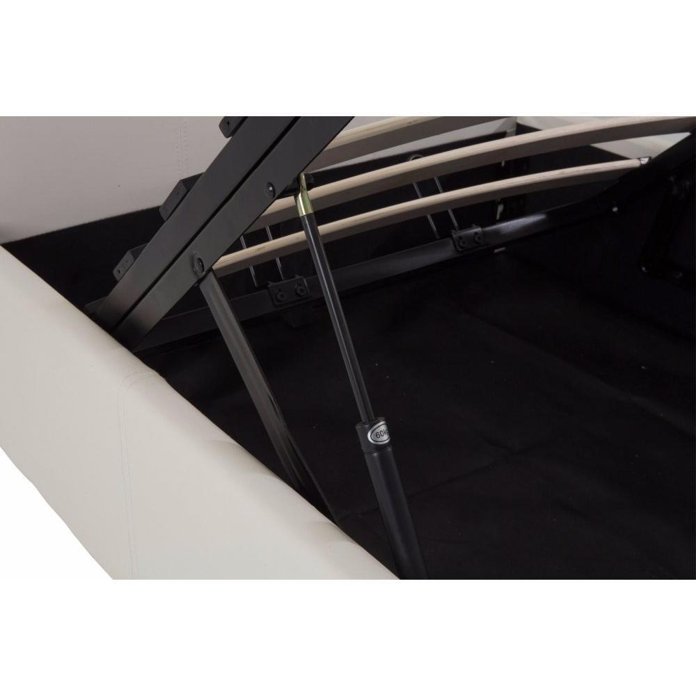lits chambre literie lit coffre haut de gamme stona couchage 160 200 cm similicuir blanc. Black Bedroom Furniture Sets. Home Design Ideas