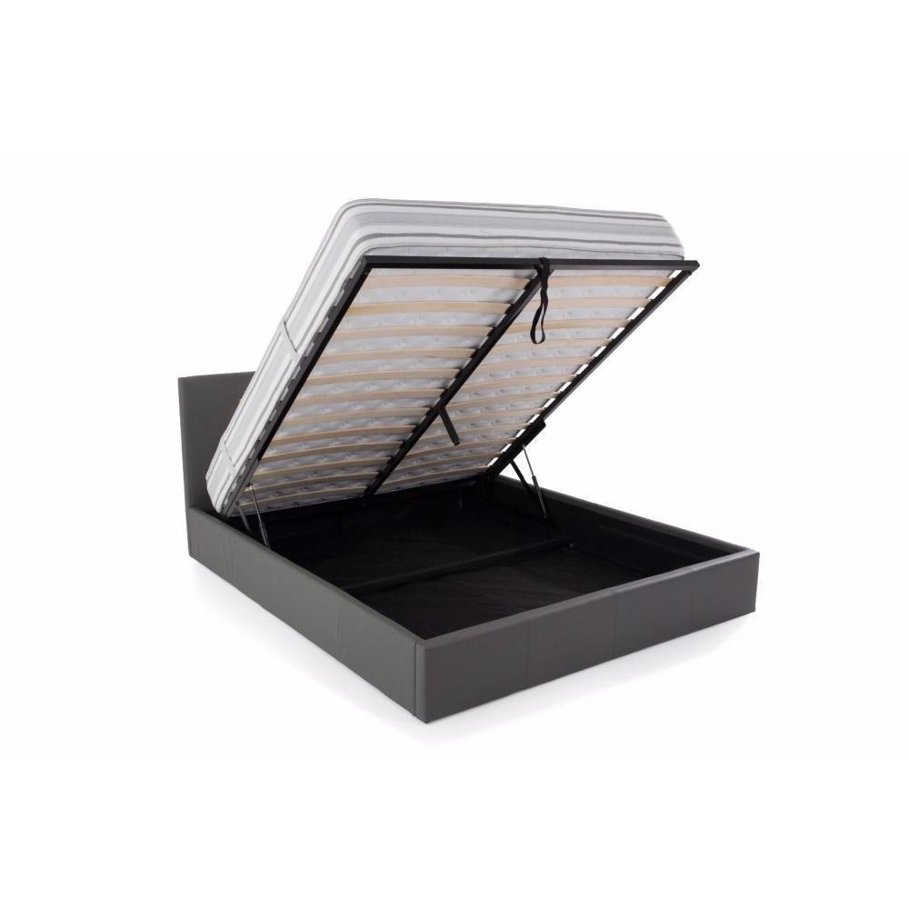 lits chambre literie lit coffre haut de gamme stona couchage 160 200 cm similicuir gris. Black Bedroom Furniture Sets. Home Design Ideas