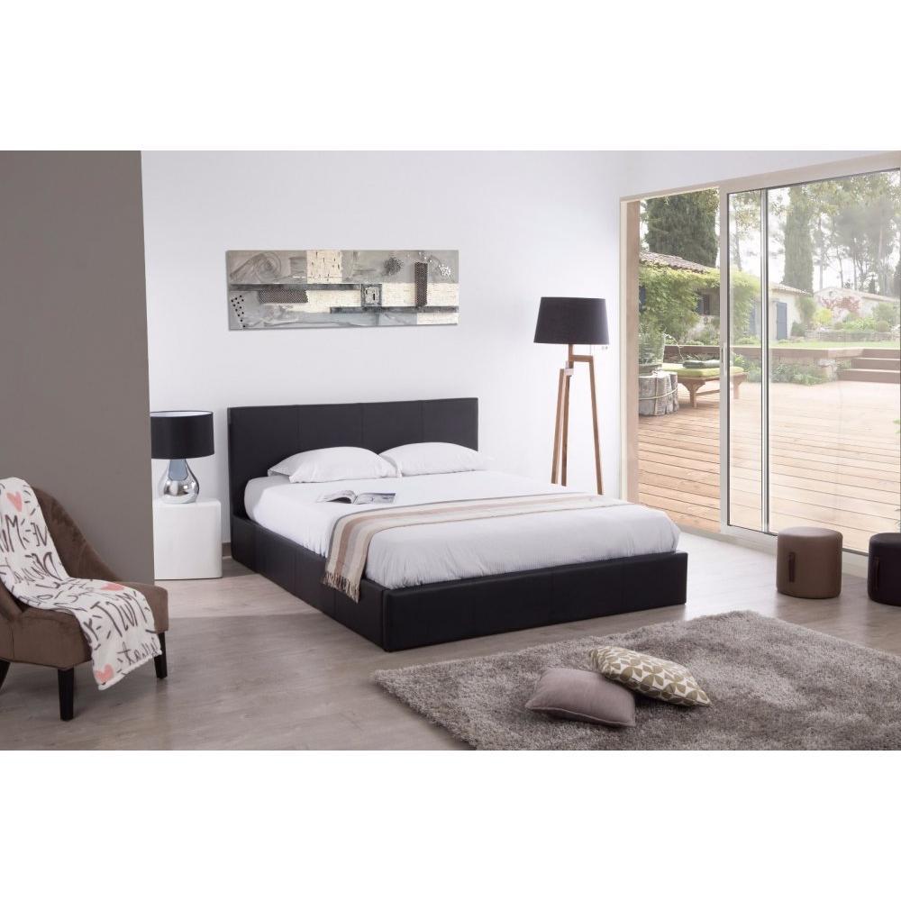 lits chambre literie lit coffre haut de gamme stona couchage 180 200 cm similicuir noir. Black Bedroom Furniture Sets. Home Design Ideas
