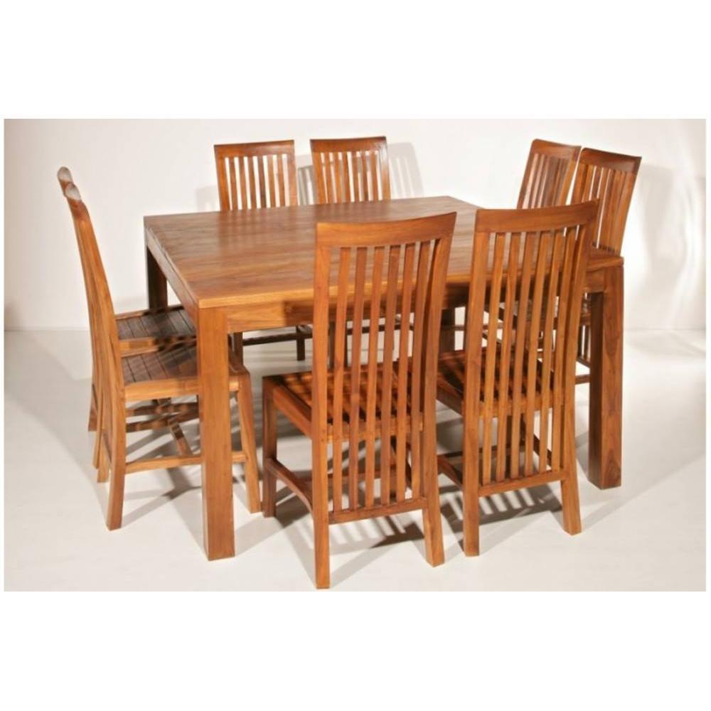 Tables repas tables et chaises table repas colonial en for Table et chaise en bois massif