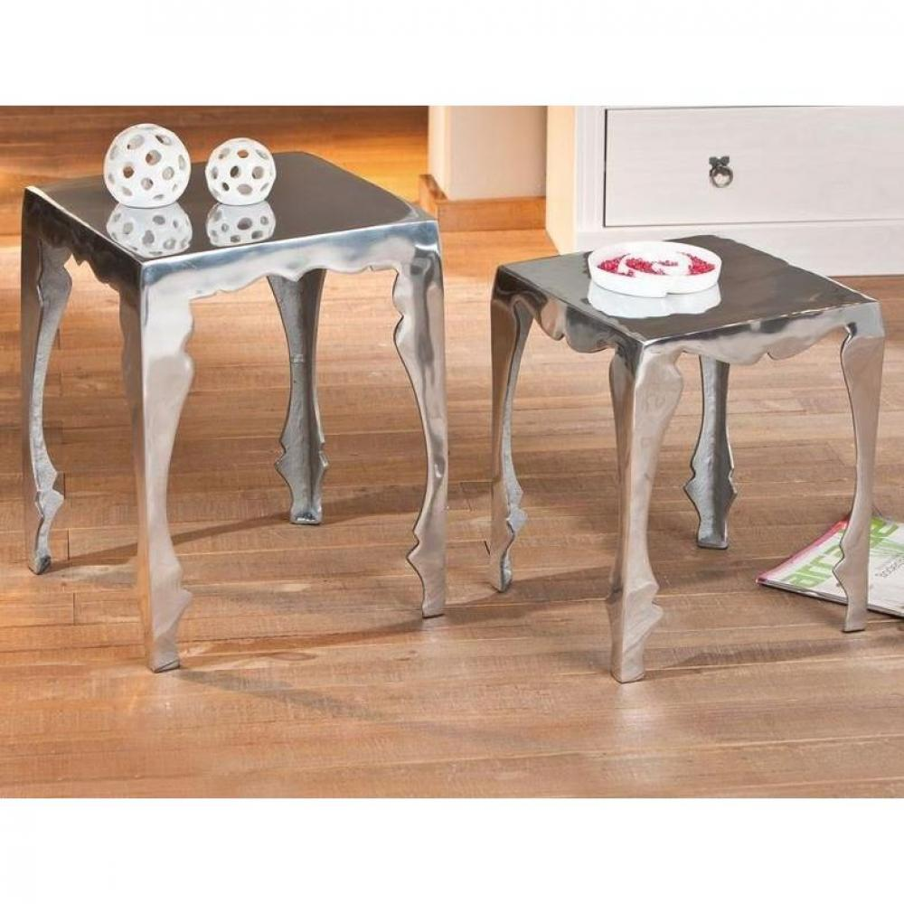 bouts de canapes tables et chaises lot de 2 tables d 39 appoint solta en aluminium inside75. Black Bedroom Furniture Sets. Home Design Ideas