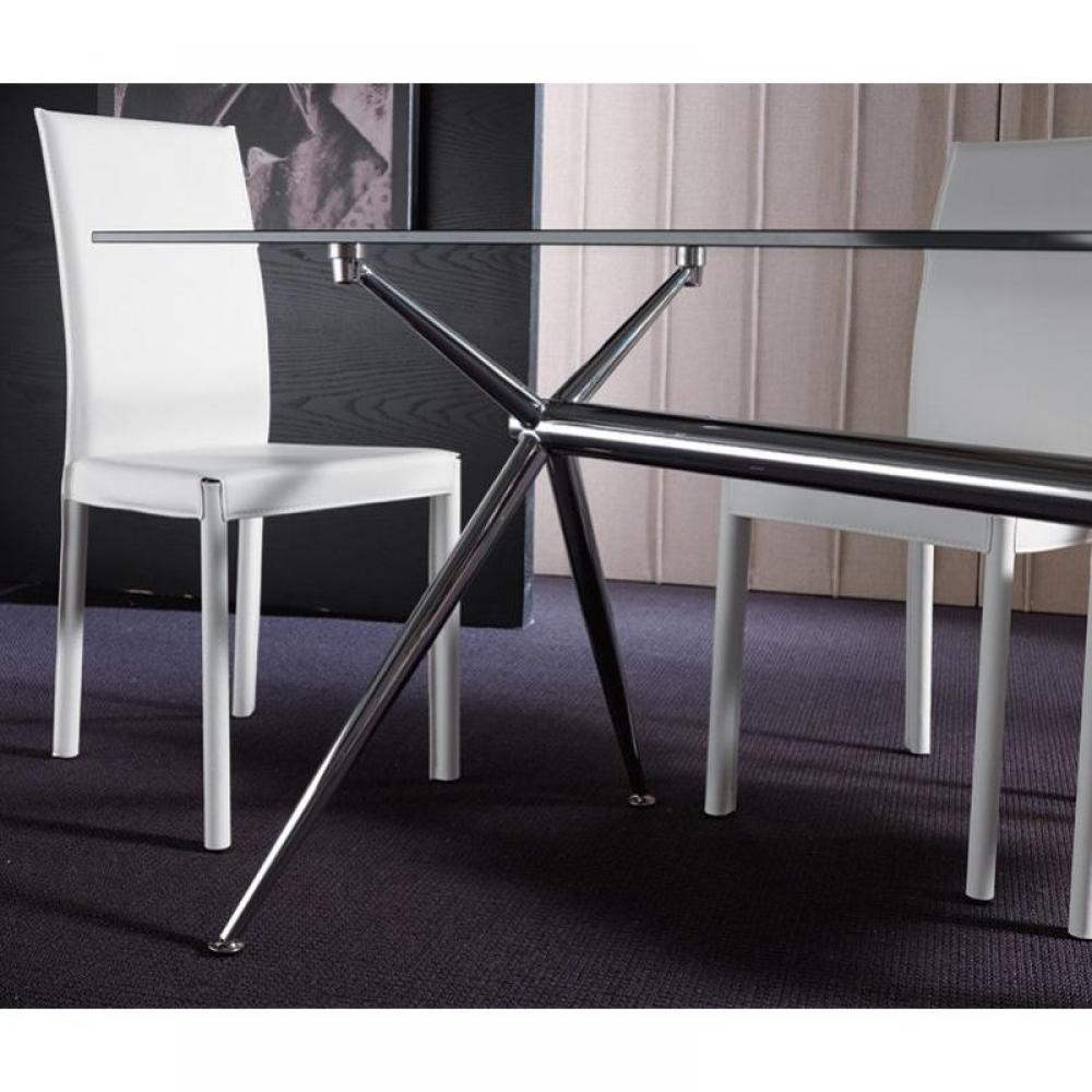 tables repas tables et chaises table repas atene 180x90 en verre pi tement acier chrom inside75. Black Bedroom Furniture Sets. Home Design Ideas