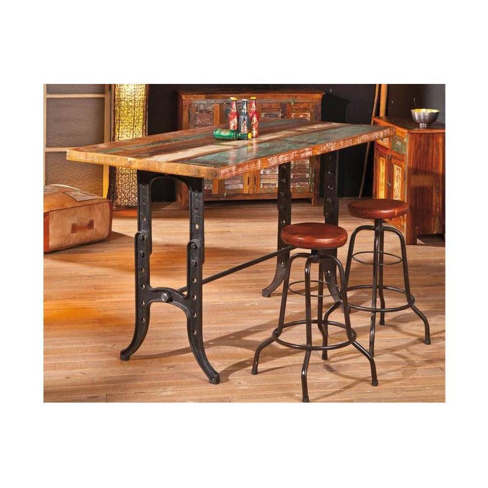 bars tables et chaises table bar unique amarelo en bois de manguier et acier inside75. Black Bedroom Furniture Sets. Home Design Ideas