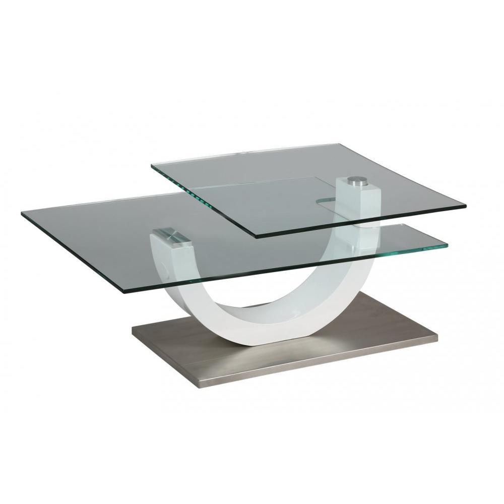 Tables basses tables et chaises table basse knock en verre transparent plat - Table basse plateaux pivotants ...