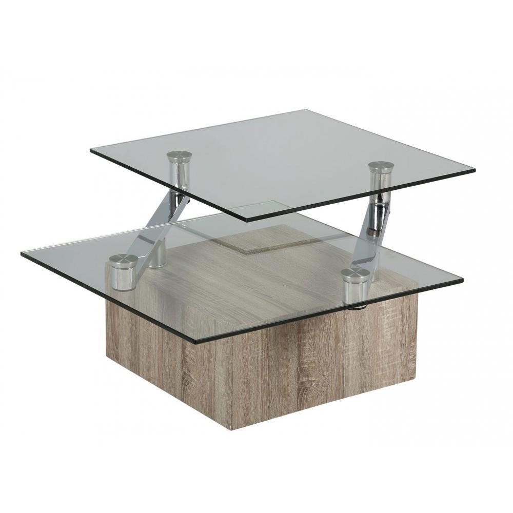 Tables basses tables et chaises table basse tree en verre transparent plate - Table basse plateaux pivotants ...