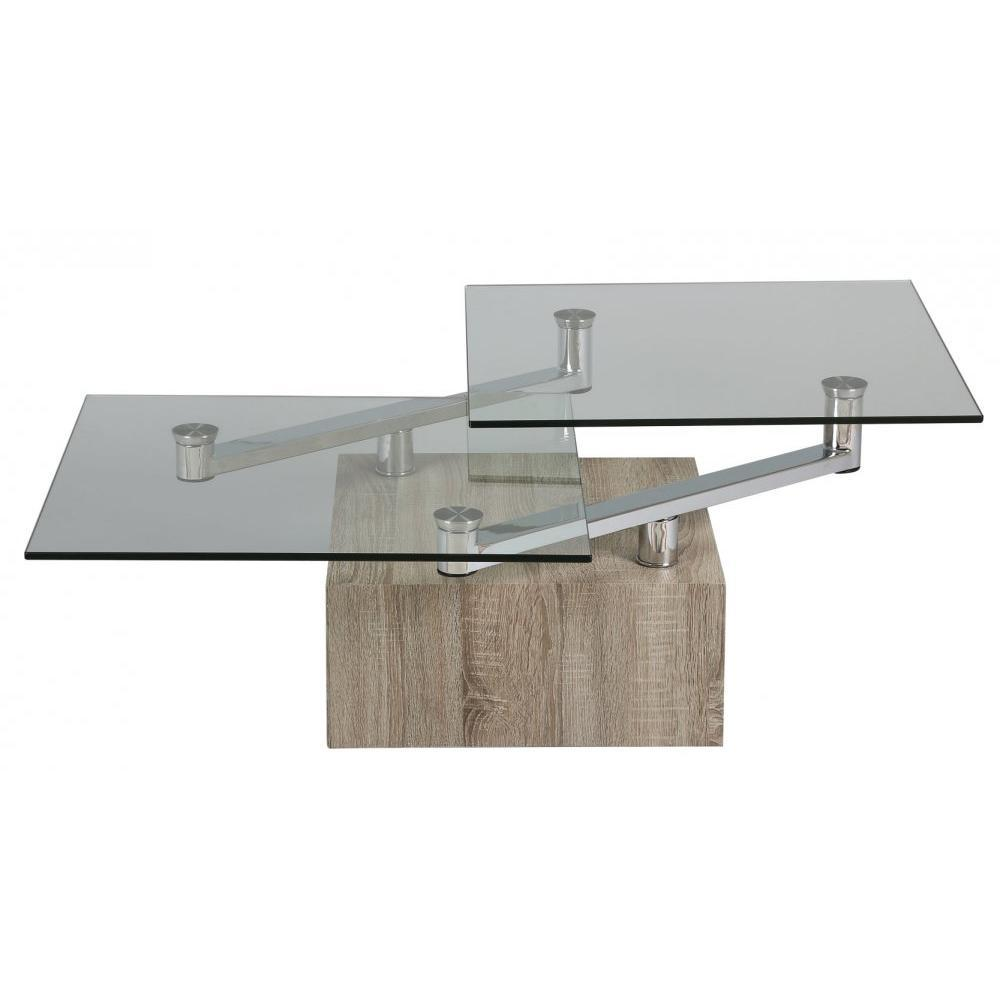 Tables modulables tables et chaises table basse tree en verre transparent p - Table basse 3 plateaux pivotants ...