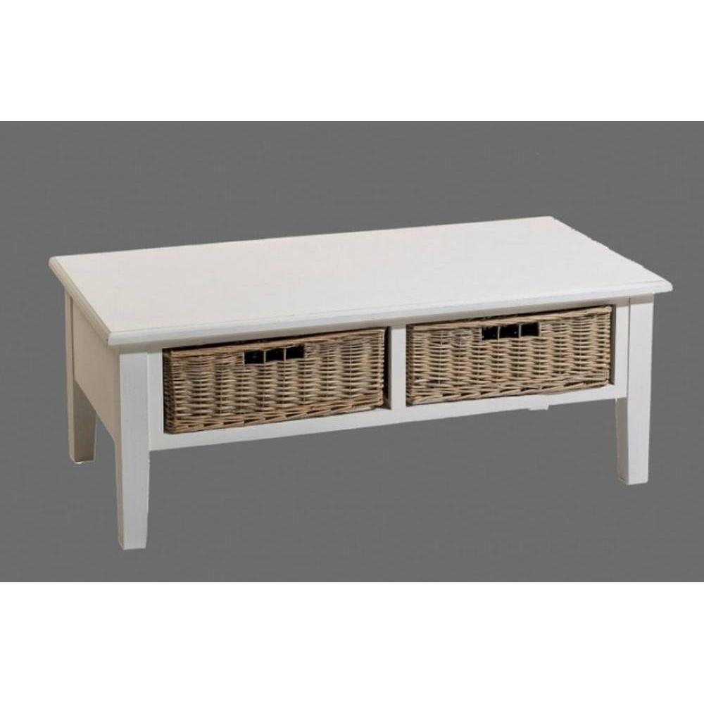 Tables basses tables et chaises table basse 2 tiroirs eva en bois blanc style charme colonial - Table basse bois blanc ceruse ...